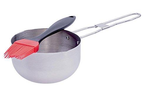 Culinario BBQ Grillset Edelstahl-Marinadentopf Ø12 cm und Silikon Grillpinsel 21 cm