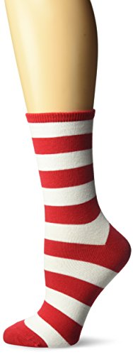Hot Sox Women's Originals Fashion Crew Novelty Socks, College Rugby Stripe (Red/White), Shoe Size: 4-10