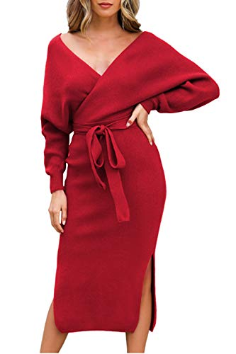 Viottiset Women's V Neck Batwing Long Sleeve Sexy Elegant Backless Wrap Bodycon Holiday Cocktail Slit Long Midi Knit Sweater Dress with Belt Red Small