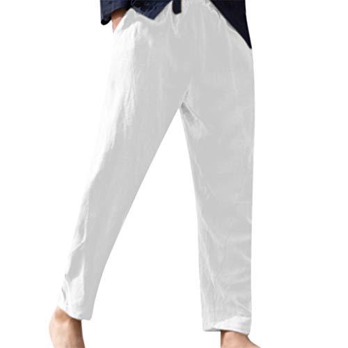 Herren Leinenhose/Skxinn Männer Sommerhose Lange Stoffhose In Leinen Baumwolle Freizeithose Strandhosen Dünne Leicht Pyjamahosen Casual Hose Lose Fit M-3XL Reduziert(Weiß,Large)