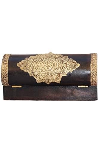 Orientalische kleine Aufbewahrungsbox mit Deckel Bindu 23cm groß | Orientalischer Schmuckkästchen für Mädchen und Damen zur Schmuckaufbewahrung | Marokkanische Schatulle Box aus Holz - 5