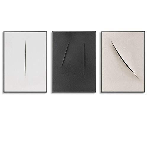 Papieren mes, Mark, muurschildering, abstract, eenvoudig en modern, minimalistische kunst, persoonlijkheid, creatieve schilderij op canvas, 50 cm x 70 cm x 3 stuks, geen lijst
