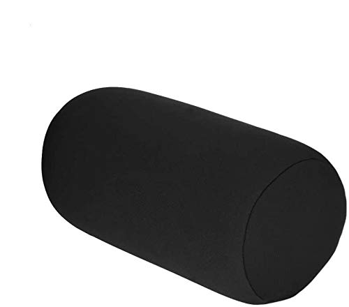 Raguso Micro Mini Microbead Back Cushion Roll Throw Pillow for Travel Home Sleep Neck Support Comfortable Car Lumbar Comfortable Office Journey Camping (Black)