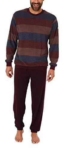Herren Frottee Pyjama Schlafanzug lang mit Bündchen, auch in Übergrößen - 281 101 93 755, Größe2:58, Farbe:braun