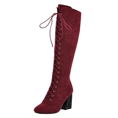 MISSUIT Damen Schnür High Heels Stiefel Blockabsatz Kniehohe Stiefel Reißverschluss Hohe High Knee Stiefel Winterboots(Weinrot,37)