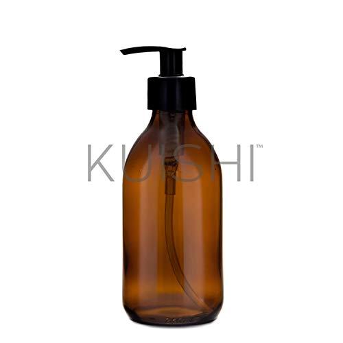 Kuishi Dispensador Jabón de Vidrio Ámbar [250ml, Paquete de 1], Botella de Vidrio Ámbar, Accesorios Baño
