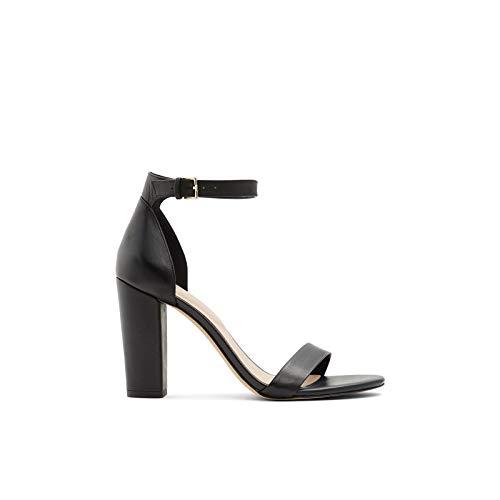 ALDO Women's Jerayclya Ankle Strap, Block Heel Sandal, Black Leather, 10