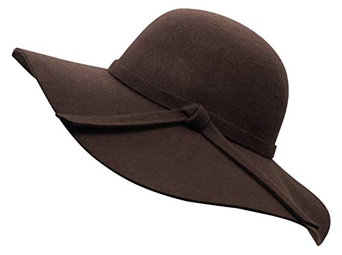 Bienvenu Women's Elegant Solid Color Woolen Floppy Hat Coffee
