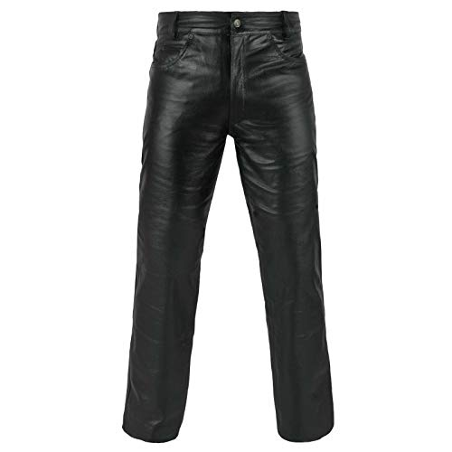FNine Pantalón de piel auténtica estilo motorista
