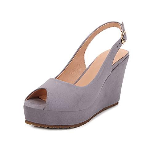 Sandalias de cuña antideslizantes con hebilla ajustable para mujer, con tachuelas y puntera abierta, para verano, Gray, 36.5 EU