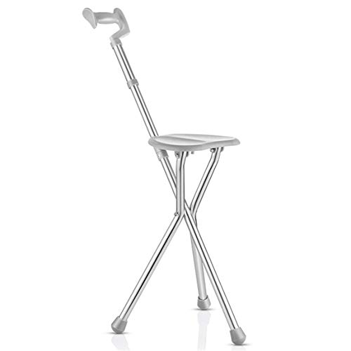 Folding Portable Travel Cane Walking Stick Seat Camp Stool Adults Chair Lightweight Combo Medical Foldable Drive Senior Care Rest Heavy Duty for Elderly and Disabled