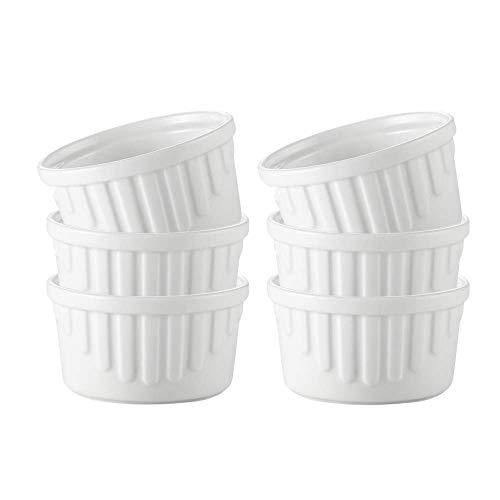WJHCDDA Moldes de Porcelana de 4.5 oz, Juego de 6, moldes de cerámica Blanca Aptos para Horno, se Adapta a soufflé, Creme Brulee, Cuencos pequeños, para Hornear y mojar Salsas