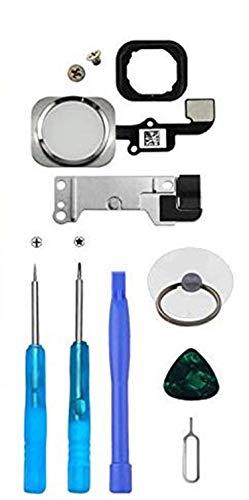 LTZGO Home Button per iPhone 6S,iPhone 6 Plus (Bianca), Pulsante Principale con Cavo Flessibile, con Staffa in Metallo e Guarnizione in Gomma, Set di Attrezzi