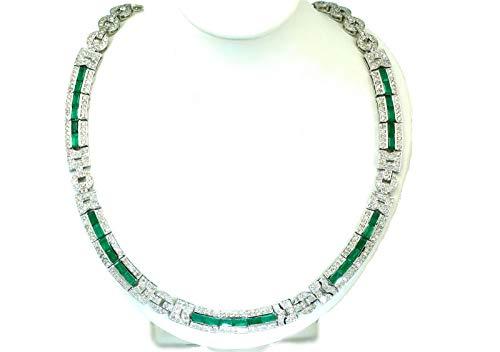 Collar de esmeralda y diamantes de 10 quilates en oro blanco de 14 K
