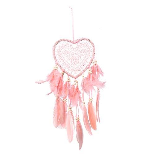 ? ?Redxiao fjäder drömfångare, urholkat vitt hjärta dekor drömfångare hem kontor vindspel prydnad väggdekoration rosa för att dekorera rum, trädgårdar, bil