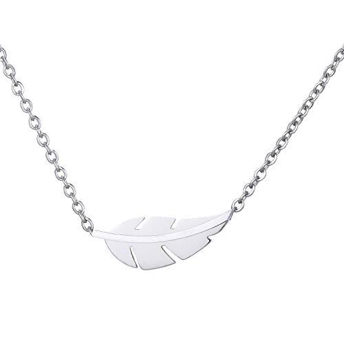 Morella Damen Halskette Symbol Blatt Anhänger Edelstahl Silber im Samtbeutel