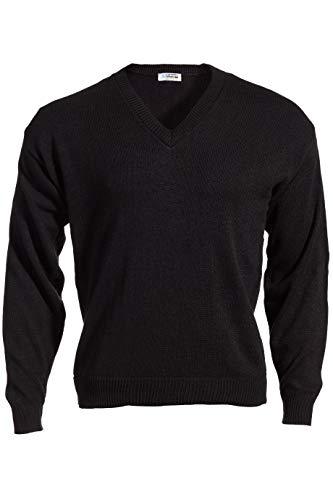 Edwards Garment Stylish V-Neck Jersey Stitch Sweater, Black, XX-Large