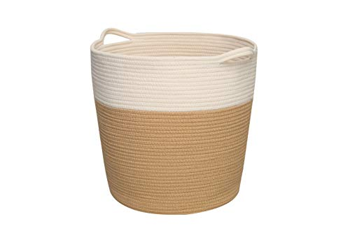 Cotton Rope Basket with Handles, Laundry Basket Clothes Hamper, Home Decor Basket...