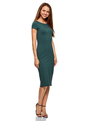 oodji Collection Damen Midi-Kleid mit Ausschnitt am Rücken, Grün, DE 32 / EU 34 / XXS
