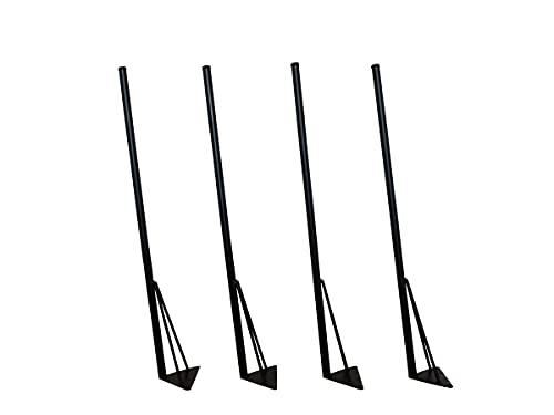 マメてりあ アイアンレッグ 角度付き 丸ロングタイプ 鉄脚 DIY テーブル脚 4本セット ツヤ消し黒(マッドブラック) カット サイズ オーダー 可能 アンティーク ビンテージ 黒 ブラック (87cm)