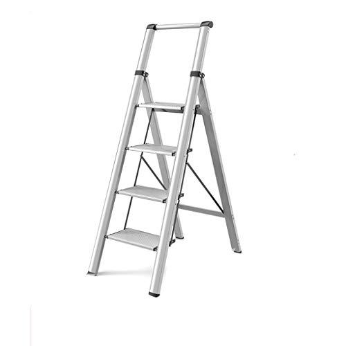 QFF Escalera con 4 la banda de rodadura, Portátil antideslizante aleación de aluminio escalera de 150 kg Capacidad de carga Escalera plegable de construcción doblez