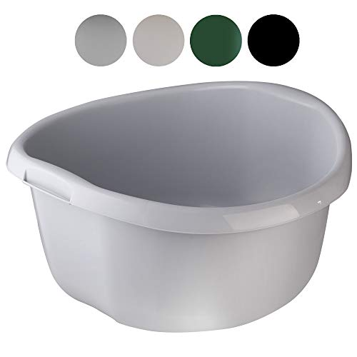 KADAX Runde Kunststoffschüssel. Becken tief und robust. Schüssel, Waschschüssel, Spülwanne Groß Eignet Sich hervorragend für das Badezimmer, den Waschraum, die Küche und das Haus (Grau, 20L)