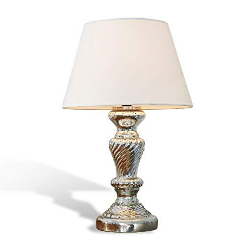 Loberon Tischlampe Hazel, Baumwolle, Glas, H/T 44/18 cm, antiksilber/creme, E27, max. 25 Watt, A++ bis E