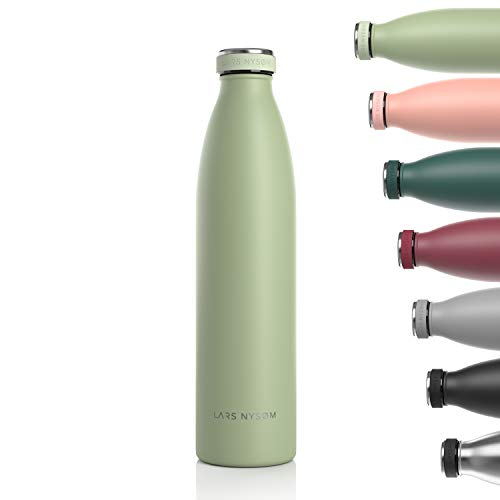 Lars NYSØM Botella de Acero Inoxidable de 1 litro | Botella aislada 1000ml sin BPA | Botella de Agua a Prueba de Fugas para Deportes, Bicicleta, Perro, bebé, niños