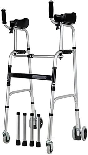 Seniors Tall Plegable Rolling Walker, con los apoyabrazos y ruedas, Médicos Portátiles Portátiles Seniors Walker, Discapacitados Ancianos (Estilo: Sin asiento)