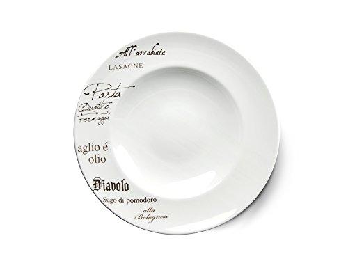 CreaTable - EUROPA GUSTOSO - Pastateller 27 cm aus Porzellan mit Schriftdekor