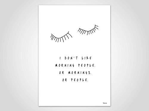 Morning People — Poster, Bild, Kunstdruck, Skandinavisch, Typografie, Spruch, Sarkasmus, minimalistisch, Geschenk, Liebe, Familie, Freundschaft