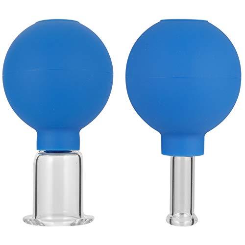 Firtink 2 Stück Schröpfglas Schröpfgläser mit Saugball aus Echtglas zum Feuerlosen Schröpfen Gesichtsmassage Naturheilverfahren