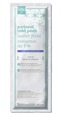 """Medline MDS148055pk48 Deluxe Perineal Cold Packs with Adhesive Strip, 4.5"""" x 14.25"""" (Pack of 24), postpartum, great for new moms"""