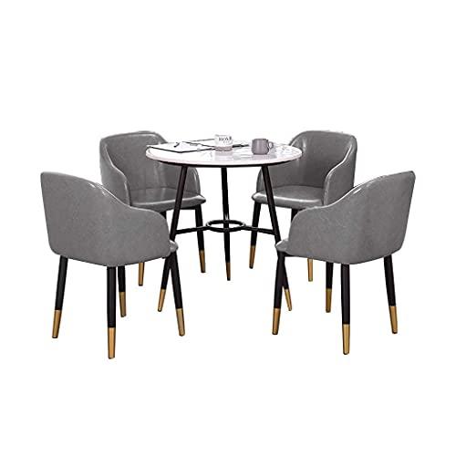 XCZZYC Kombinationsstuhl Kitchen Dining Chairs, Negotiate Marble Table und Oil Wax Leather Chair Kombination Hotel Lobby Verkaufsbüro Empfang (Farbe: Grau)