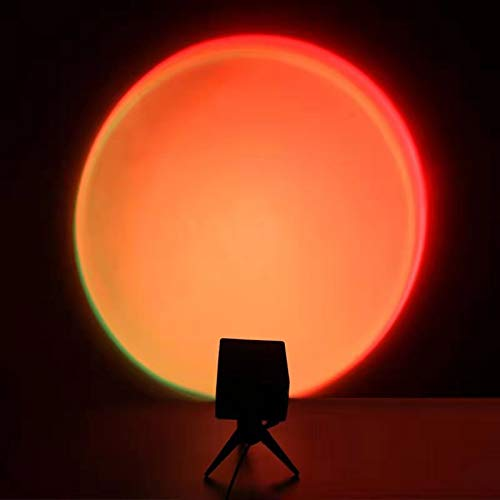 Sunset Lamp , LED Light 180 Degree Rotation Rainbow Projection Lamp, Voice Control USB Night Light, Romantic Visual Light for Home Bedroom Ins Photography Live Stream