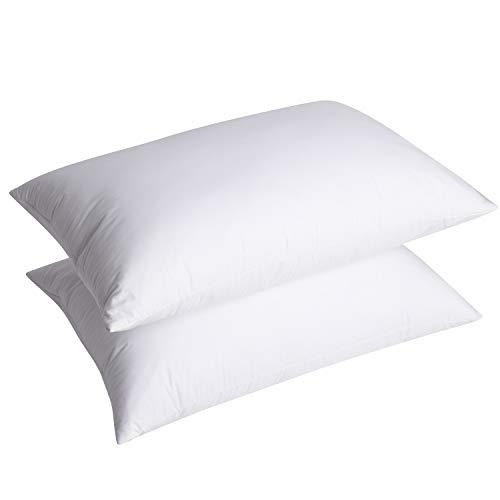 UMI. Essentials - Pack de Dos Almohadas de Plumas de Ganso Blancas con Tela 100% de algodón (48 x 74 cm, firmeza Mediana)