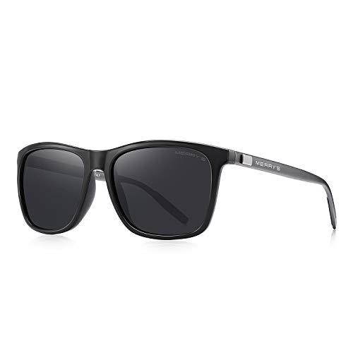 MERRY'S Unisex Polarized Aluminum Sunglasses Vintage Sun Glasses For Men/Women S8286 (Black, 56)