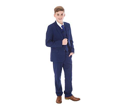 Vivaki Anzug für Jungen, Blau, Königsblau, für formelle Hochzeiten, Partys, Abschlussbälle, 5 Stück Gr. 2-3 Jahre, blau