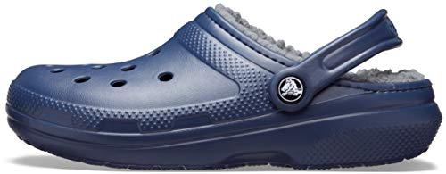Crocs Men's and Women's Classic Lined Clog   Fuzzy Slippers, Navy/Charcoal, 8 Women / 6 Men