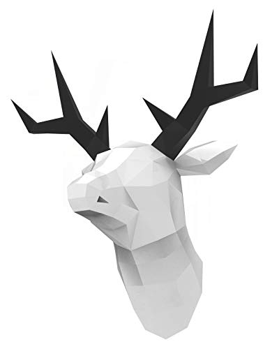 Oh Glam Home Kit DIY Reno Ciervo Papercraft Kit Trofeo de Pared cartón 3D Escultura Origami 3D Puzzle 3D PRECORTADO (Blanco, Cuerno Negro)