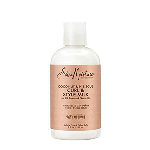 Shea Moisture Coconut & Hibiscus Curl & Style Milk 8 Fluid Ounce, Pack of 2