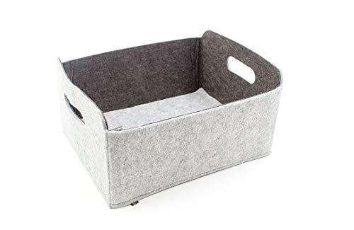 Luxflair Hochwertiger, waschbarer Aufbewahrungskorb aus Filz Graumeliert/dunkelgrau 30x24x15cm. Aufbewahrungskorb, Regalbox, Faltbox, Spielzeugkorb, Filzkorb
