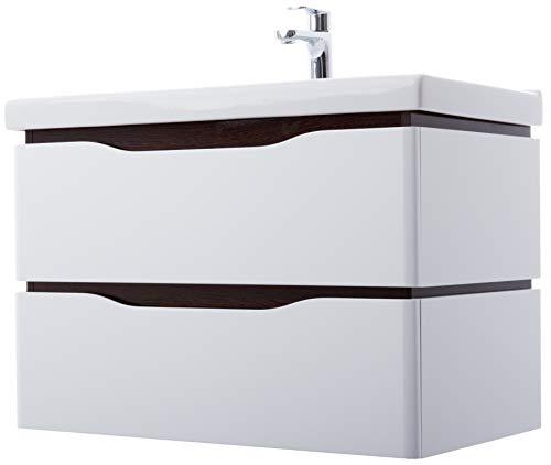 Tvättplats badrumsmöbler set med 2 utdrag | Mått: 60 cm x 56 cm x 45 cm (BxHxT) | Märke AQUA RODOS * Serie Venice | Keramik tvättställ av hög kvalitet | Tvättställ av keramik | Förkrympt med utmärkt högglanspolerad | Handtagsmualer | Upphängningar me
