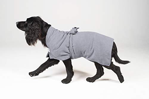 Toby & Alexander' Bademantel für den Hund - saugfähige, schnell torcknende Microfaser (XS, Grey)
