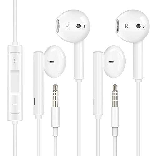 [2 Piezas] Auriculares de 3,5 mm,Auriculares Deportivos Magnéticos,con Micrófono, Control de Graves y Agudos y Función de Reducción de Ruido,para iPhone, iPad, Huawei, Xiaomi, Android, PC, MP3/MP4