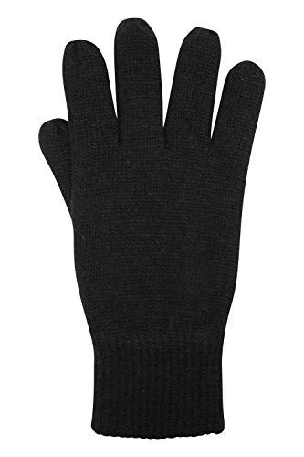 Mountain Warehouse Thinsulate Mens Knitted Gloves - Knitted Effect Ski Gloves, Double Lined Black