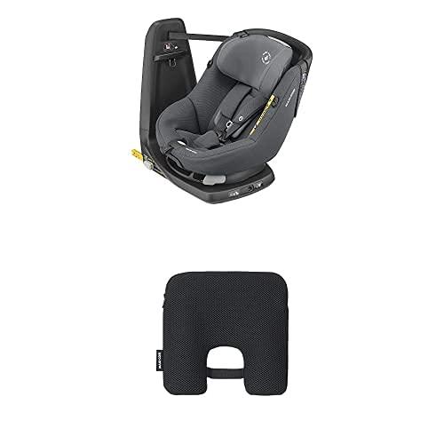 Maxi-Cosi Axissfix Silla de coche giratoria 360° isofix, silla auto reclinable y contramarcha para bebés 4 meses - 4 años, authentic graphite + Dispositivo antiabandono para silla de coche, Negro