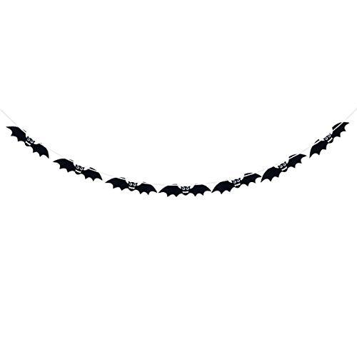 BESTOYARD Halloween Girlande Stoff Schwarz Fledermaus mit Augen Banner Halloween Hängende Dekorationen