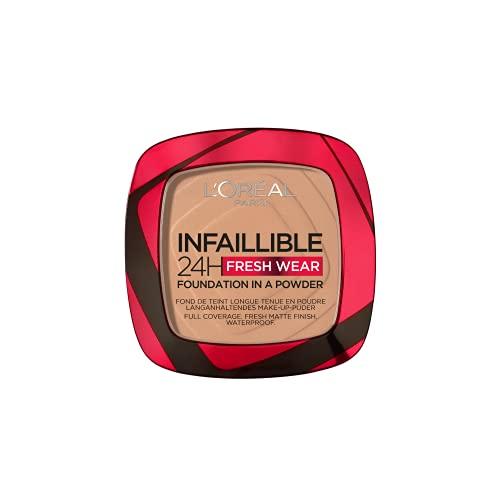L'Oréal Paris Infaillible 24H Fresh Wear Make-Up-Puder 220 Sand, langanhaltendes & mattierendes Make-Up-Puder, wasserfest, schweißfest, bis zu 24H Halt