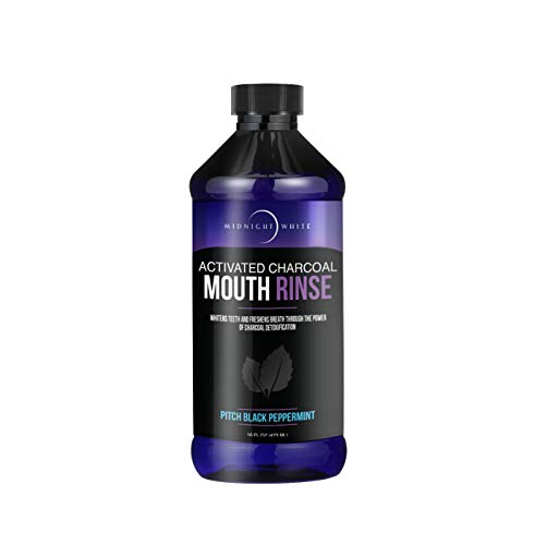 Midnight White Activated Charcoal Mouth Rinse 16 FL OZ (473 ML) | Activated Charcoal Mouthwash | Natural Teeth Whitening with Xylitol | Organic Oral Wash with Activated Charcoal